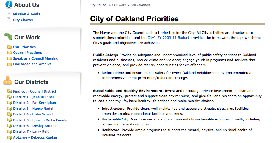 City of Oakland Website needs work! Share your suggestions.