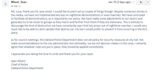 Email to City Council, Mayor and Police Chief re Protests.
